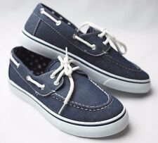 Womens Canvas Slip On Boat Shoe Casual Comfy Lace Up Flat Round Toe Sneaker