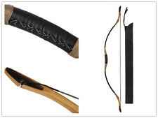 Handmade Cow Leather Bow hunting Longbow  Recurve Archery With OX Horn 20-110lb