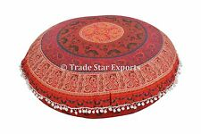 Decorative Round Mandala Cushion Cover Indian Ethnic Ottoman Poufs With Insert