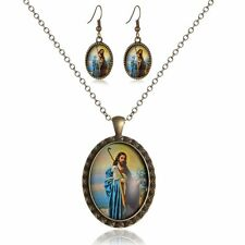Jesus Pattern Retro Jewellery Set Crystal Necklace Pendant And Earring Set Charm