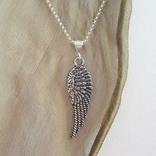 Angel Wing Large Pewter Antique Silver-Plated Pendant Charm & Necklace-Free Ship
