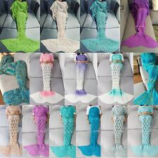 Teen Adult Size Knitted Crochet Sofa Wrap Costumes Mermaid Tail Quilt Blanket