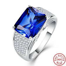 7.5CT Emerlad Cut Gemstone Sapphire 100% 925 Sterling Silver Ring Sz L½ N½ P½ R½
