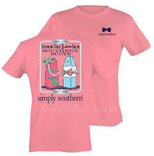SIMPLY SOUTHERN GIRLS LOVE THEIR SOUTHERN BUOYS PINK TEE SHIRT PEARLS & BOW TIE