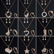 Wedding Bridal Gold Tone Rhinestone Crystal Necklace Earrings Ring Jewelry Set