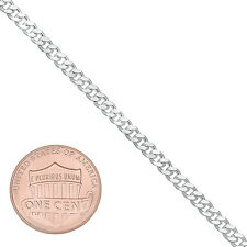 Unisex 3mm Thin Real 925 Italy Stamped Sterling Silver Curb Link Long Neck Chain