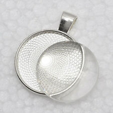 1 inch Pendant Trays+glass cabochon set, Blank Pendant Bases, 25mm pendant trays