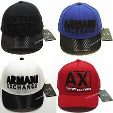 ARMANI EXCHANGE AX NEW MENS HAT/CAP LEATHER BRIM & ADJUSTABLE LEATHER STRAP NWT
