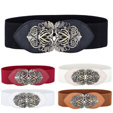 Women Wide Waist Belts Elastic Stretch Buckle Vintage Waistband Girls Fashion