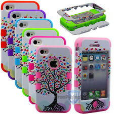 Shockproof Hybrid Love Tree Rugged Rubber Hard Case Cover For iPhone 4 4S 4G