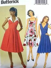 BUTTERICK VTG RETRO 50's INSPIRED ROCKABILLY HALTER MIDRIFF DRESS PATTERN 14-22
