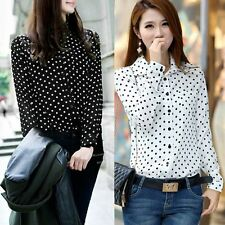 Women Summer Long Sleeve Polka Dot OL Style Loose Tops Blouse Casual T Shirt