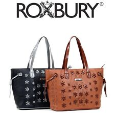ROXBURY Nicole Lee Black Brown Willa Stitch Flower Faux Leather Tote Handbag NWT