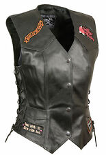 LV4900 Ladies Leather Vest with Sewn Biker Patches and Adjustable Side Laces