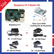Raspberry Pi 3 Starter Kit With 5V 2.5A Power+Black Case+Cooling Fan+Heatsinks