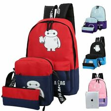 Girl Boy Canvas Backpack+Handbag+Wallet Shoulder School Bag Travel Satchel Bags