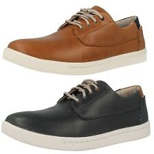 Mens Clarks Newood Fly Navy Or Tan Leather Casual Lace Up Shoes G Fitting