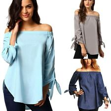 Fashion Sexy Womens Lady Off Shoulder Casual Long Sleeve Slim T-Shirt Top Blouse