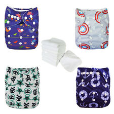 4 PCS Digital Print Reusable Waterproof Baby Cloth Diaper Covers With Inserts