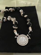 New,100% Authentic Sterling Silver Cuban Currency-Tibetan Agate Necklace-Rare!