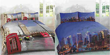 3D LONDON BIG BEN NEW YORK SKYLINE DUVET QUILT COVER BEDDING PILLOWCASE SET NEW
