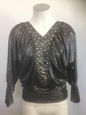 NEW Ladies Long Black & Silver Striped Evening Top - Ajoy Sample Brand Size 8-10