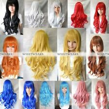 Women Long Hair Wigs Curly Wavy Synthetic Anime Cosplay Party Full Wigs 80cm FWS