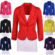 Womens Stylish Slim Fit One Button OL Office Suit Blazer Candy Color Jacket Coat