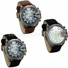 Fashion Sport Big Dial Casual Analog Quartz Mens Leather Band Wrist Watch+Bag