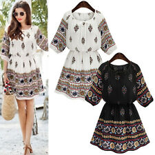 Fashion Womens Short Sleeve Floral Loose Evening Party Casual Short Mini Dress