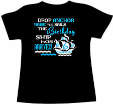 BIRTHDAY SHIP T-SHIRT Customised Birthday for your CHILDS AGE. Cotton NEW BOYS