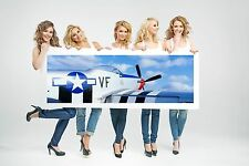 Wall Art Canvas Print Picture Fighter Propeller Airplane Panoramic-Unframed