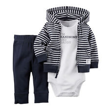 3-Pack Newborn Kids Baby Boys Infant Romper+Hooded Cardigan Jacket+Trousers Set