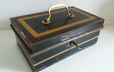 Vintage Metal Cash Box Money Tin with Key & Removable Coin Tray in Black & Gold