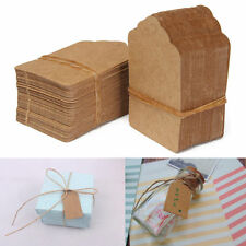 100pcs 5*3cm Brown Kraft Paper Hang Tags String Punch Label Price Gift Card  BR