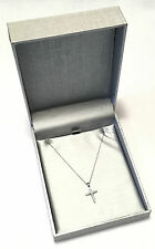 "Retro ZALES 10k White Gold & Diamond Accent Cross w/ 18"" Chain - MIB/NOS"