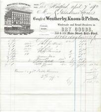 Illustrated Billhead - Weatherby, Knous & Pelton Dry Goods - Hartford, CT - 1870