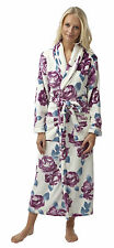 i-Smalls Women's Floral Print Flannel Fleece Robe Wrap Dressing Gown