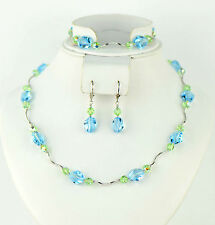 Crystal Sterling Silver 3 pc set Bracelet, Earrings and Necklace