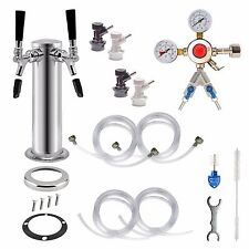 2 Tap Double Chrome Tower Draft Beer Home Brew Kegerator Conversion Kit
