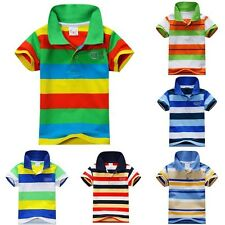 New Summer 1-7Y Baby Children Boys Striped T-shirts Kids Tops Polo Sports Tee