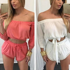 Women Summer Sexy Off Shoulder 2 Pieces Top + Drawstring Shorts Suit Luxury