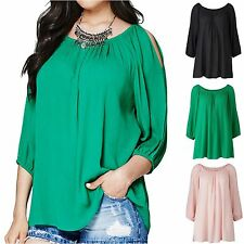 Simply Be 12 14 16 Gypsy Blouse Top Cold Shoulder Split Sleeve Black Green Pink