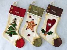 Personalised Embroidered Vintage Christmas Stocking STAR TREE HEART