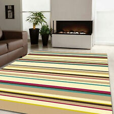 MODERN BUDGET BEIGE BROWN BLUE STRIPE QUALITY FLASH DISCOUNT 8-10mm SOFT RUG MAT