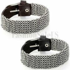 Mens Womens Punk Rock Chain Surrounded Leather Bangle Bracelet Charm Straps Cuff