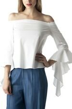 Women Long Sleeve Sexy Off Shoulder  Ruffle Top  Blouse Size S M L  White DO+BE