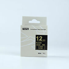 Compatible EPSON 12mm LC-4BKP Label Tape Gold on Black 8m lw300 700 900 lw400