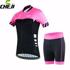 CHEJI Women MTB Bicycle Bike Clothing Wear Cycling Jersey +  Shorts Set Pink