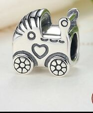 baby carriage/ pram charm genuine sterling silver 925 fits European bracelet